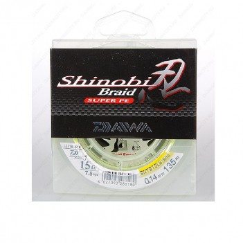 Шнур плетен. DAIWA Shinobi Braid 135m 0.28mm 50lb(флуор,-желтая)