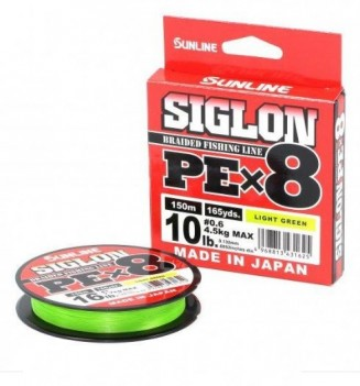 Шнур плетен. Sunline Siglon PEx8 Light Green 150м 1.0 0.171мм 7.7кг