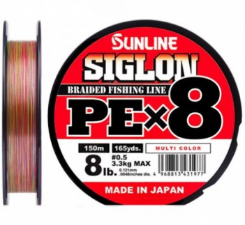 Шнур плетен. Sunline Siglon PEx8 Multi Color 150м 1.0 0.171мм 7.7кг