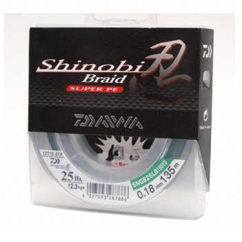 Шнур плетен. DAIWA Shinobi Braid 135m 0.20mm 30lb(зелёная)